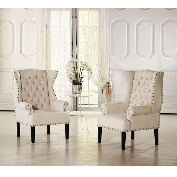 Baxton studio patterson wingback beige linen and burlap for Wing chairs for living room