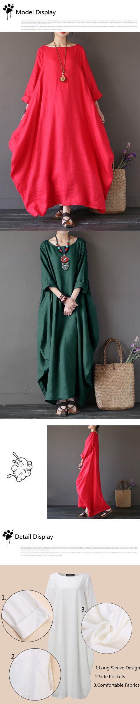 ZANZEA Women Casual Loose Pure Color Baggy Dress Long Sleeve Maxi Dresses