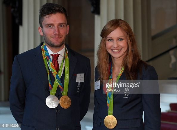 British Olympic athletes Joanna Rowsell and Callum Skinner arrive at a reception for Team GB's Olympic and Paralympic teams hosted by Queen Elizabeth...