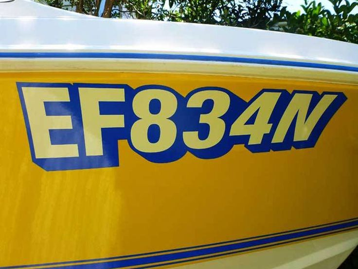Boat rego numbers signwritten or stickers supplied boat