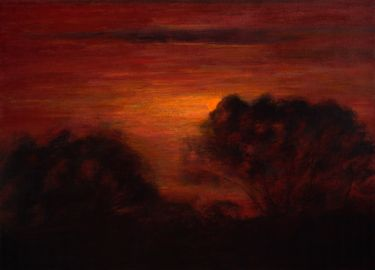 "Saatchi Online Artist paul chizik; Painting, ""Slated Silhouette, Red Sky "" #art"