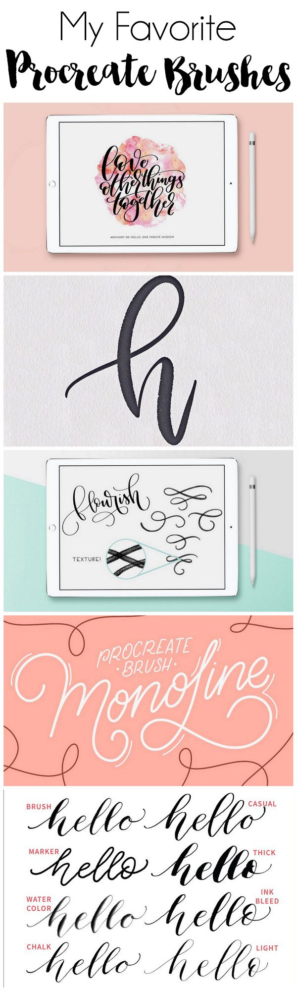 My Favorite iPad Lettering Brushes for Procreate | DawnNicoleDesigns.com