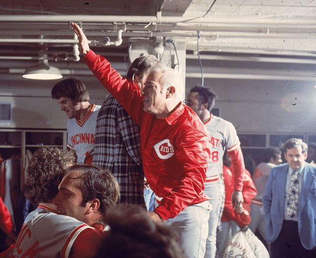 Reds manager Sparky Anderson celebrates in the locker room after defeating the Red Sox to win the 1975 World Series. If the Reds are to reach another World Series, they'll need Jay Bruce to continue swinging a hot bat. As SI's Joe Lemire writes, Bruce is strictly adhering to a daily routine for the first time in his career and thinks it will help him stay consistent throughout the season. (Heinz Kluetmeier/SI): The 1975, Red Sox, Red Machine, Reds Defeated, Anderson Celebrates, Sparky Anderson, Big Red, Cincinnati Reds