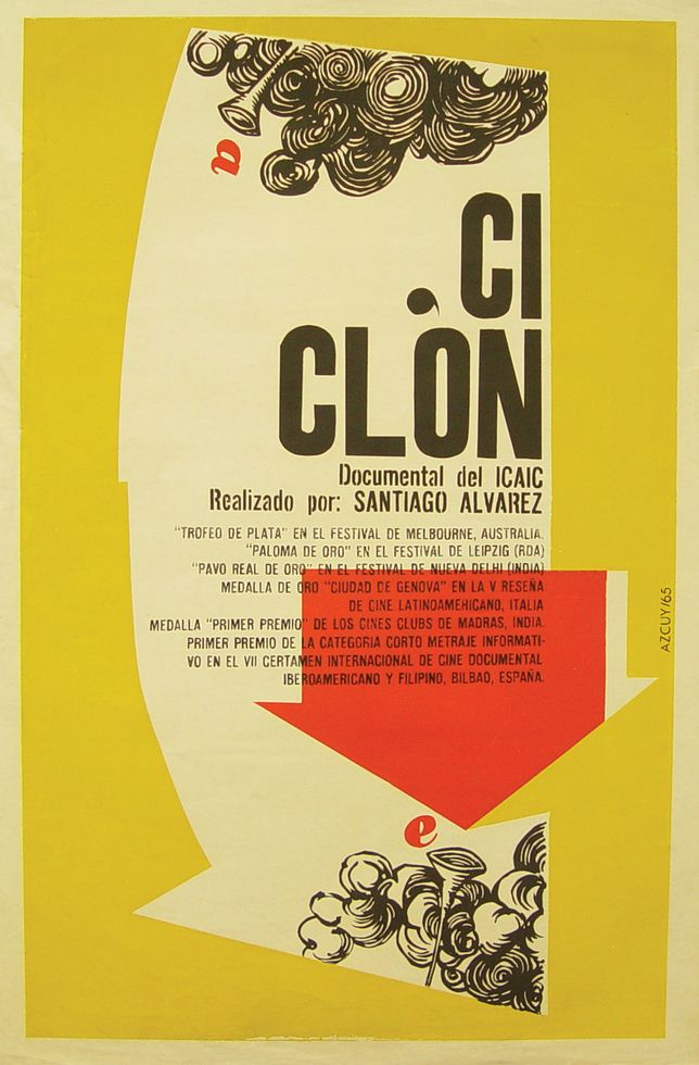 "A poster for the Cuban film ""Cyclone"" designed in 1965 by Rene Azcuy Cardenas."