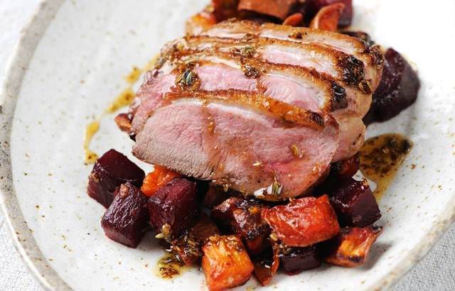 Gressingham Duck Breast, Lavender, Beetroot & Sweet Potato Recipe