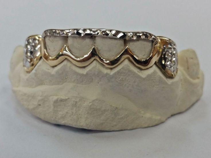 S. Silver 10K or 14K Solid Gold Custom 2 Tone Open-Cut Diamond Cut Grill Grillz in Jewelry & Watches, Fashion Jewelry, Body Jewelry | eBay