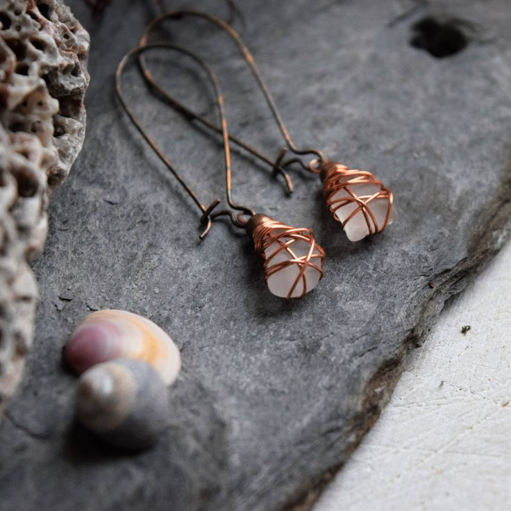 These copper Seaglass Earrings were designed to connect you to the power of the sea. I know that so many people, like me, feel the call of the waves and the salty breeze in their soul. My aim is to bring a little slice of that bohemian ocean escape to my customers ♡ -----------------------------