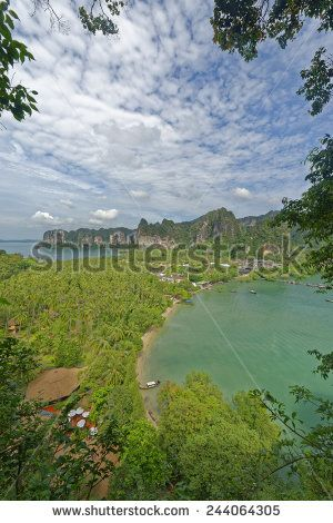 http://www.shutterstock.com/pic-244064305 Thailand, Railay Beach From One Of Two View Point Hike,S Through It Cliff Like Mountain Forests. Below You Can See Two Of Its Three Tropical Beach Bays And Palm Tree Forests In Between Stock Photo 244064305 : Shutterstock #thailand #stockphoto #thailandphoto #stockimage #thailandstock