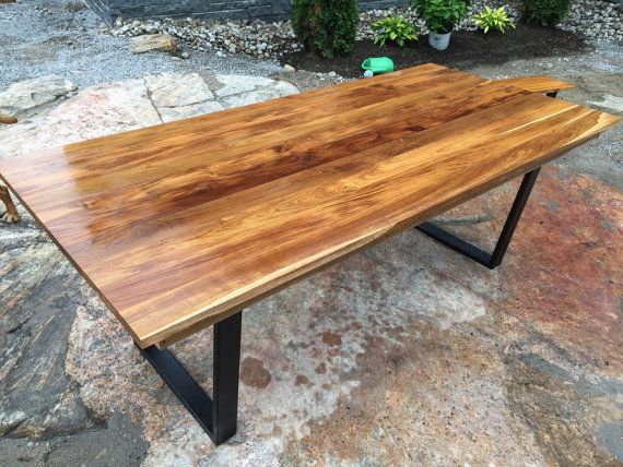 Teak table with bench Live Edge Dining Table Black by PlankToTable