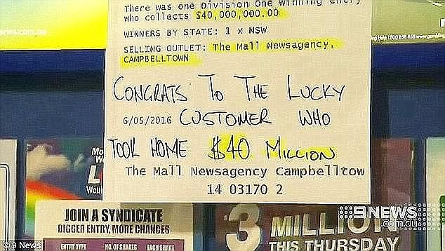 A message posted after $40 million was won in a Powerball draw in May 2016 (pictured)