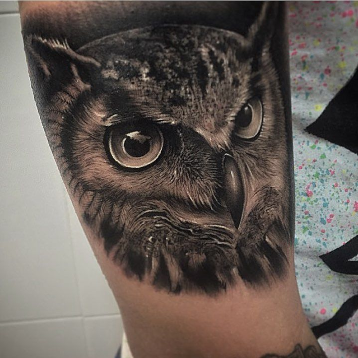 Black And Grey Owl Face 3D Tattoo Design For Leg By Samuel Rico