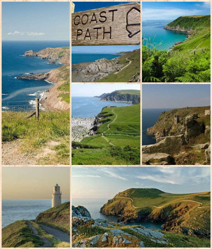 The South West Coast Path (Images along the path in Cornwall) is England's longest waymarked long-distance footpath (and one of the longest in the UK) and a National Trail. It stretches for 630 miles (1,014 km), running from Minehead in Somerset, along the coasts of Devon and Cornwall, to Poole Harbour in Dorset.