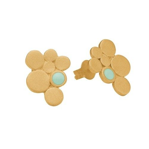 Stud, 7 circles, mint, gold plated sterling silver