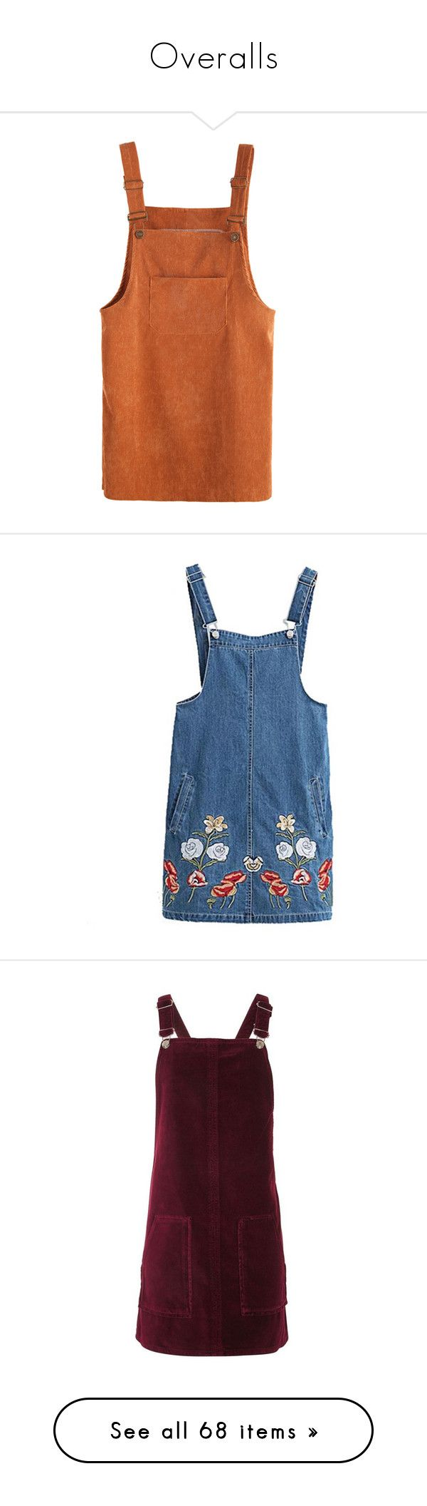 """Overalls"" by ethereale ❤ liked on Polyvore featuring dresses, overalls, bottoms, skirts, khaki, blue, pinafore dress, denim dress, back zipper dress and zip back dress"