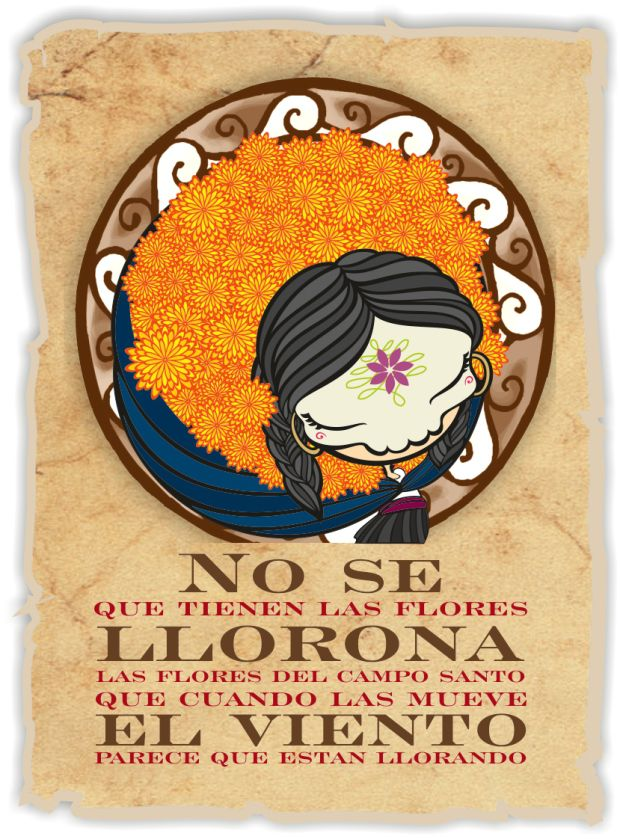 "I don't know what is in the flowers llorona illustration for the day of the dead based on the traditional song ""la llorona"" by Chabela Vargas"