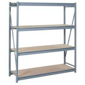 """Bulk Storage Rack Starter, 4 Tier, Particle Board, 60""""Wx36""""Dx96""""H Blue by LYON WORKSPACE PRODUCTS. $435.95. Bulk Storage Rack Starter, 4 Tier, Particle Board, 60""""Wx36""""Dx96""""H Blue Heavy gauge steel uprights and beams. Adjustable on 1-1/2"""" centers. 1650-3300 lbs. capacity per pair of beams. Weight Capacity based on evenly distributed load. 10,000 lbs. per upright assembly."""