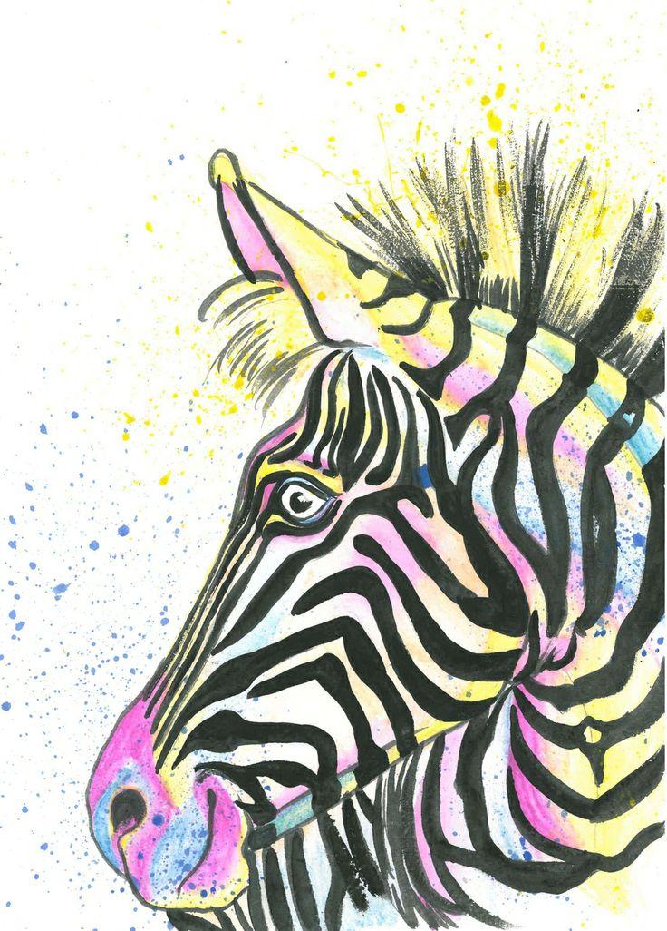 Zebra, Water Colour on Paper, By Jane Burton