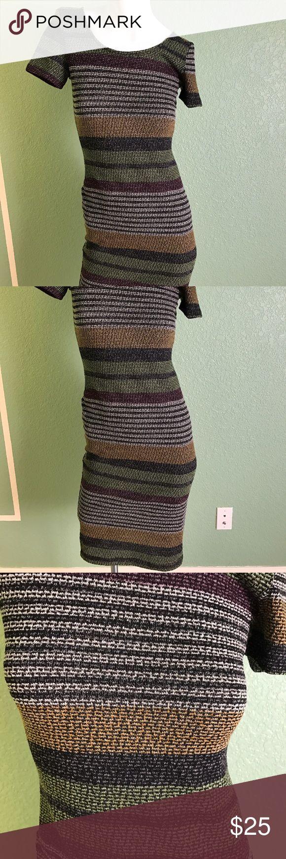 Multi colored midi length dress Multi colored, mid length,  slight scoop on back dress, slight stretch Dresses Midi