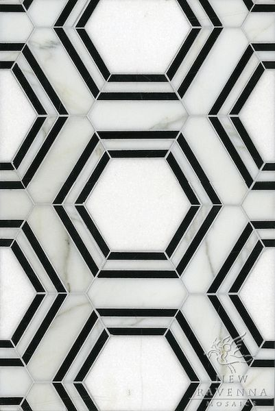 This would make a great bathroom or kitchen back splash patter. It's simple, but just intriguing enough to have some visual weight. The fact that the black hexagons aren't aligned with the actual tiles is very trippy.