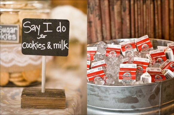 LOVE!! Galvanized tub for keeping milk cartons cold and glass jar for cookies
