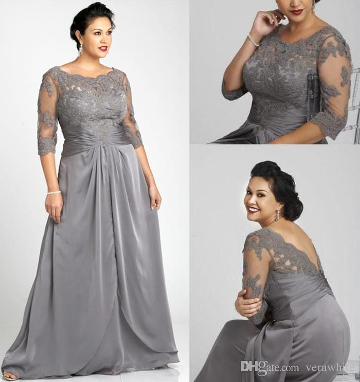 Vintage Plus Size Evening Dresses Bateau Neck Gray Chiffon 3/4 Long Sleeves With Appliques Zipper Back Floor Length 2016 Formal Party Gowns Plus Size Graduation Dresses Plus Size Hippie Clothes From Verawhite, $102.76| Dhgate.Com