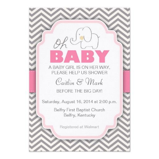 758 best baby shower invitations images on pinterest baby shower oh baby elephant pink gray baby shower invite filmwisefo