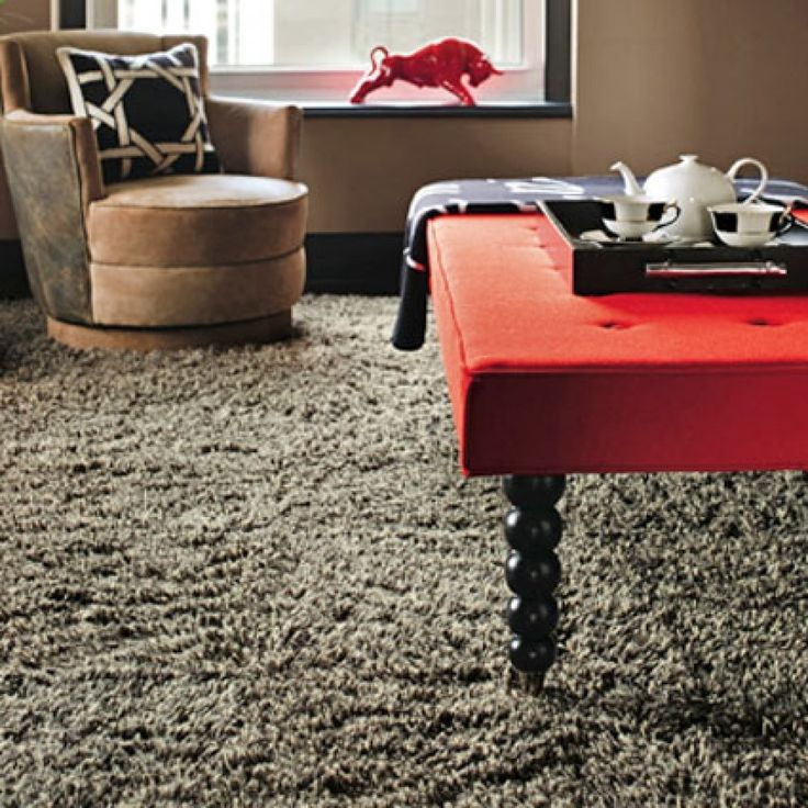 Tips, Frieze Carpet With Grey Color Beautify Interesting Interior That Also Have Rounded Single Sofa And Red Top Coffee Table: Selecting Frieze Carpet to Modern Home and Enhance Your Appealing