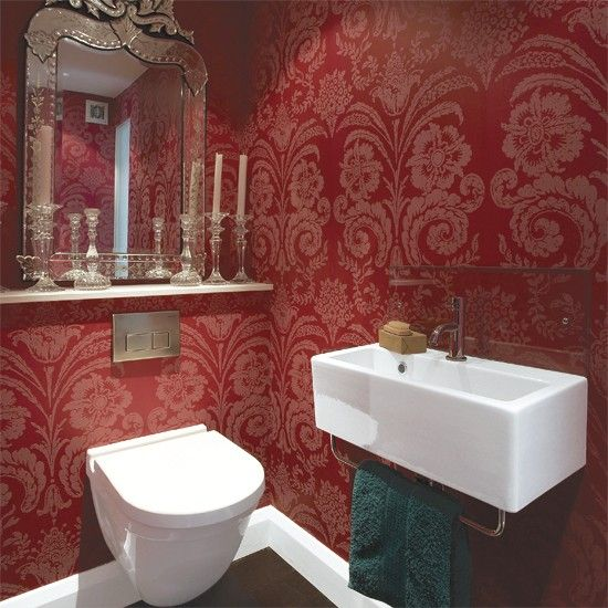 Bathroom Paint Colors In Graceful Design Makeover Colors Bathrooms Bathroom Colour Schemes: Read More, Damasks And Red Wallpaper