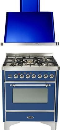 "2-Piece Midnight Blue Kitchen Package with UM76DVGGBLX 30"" Freestanding Gas Range (Chrome Trim 5 Burners Timer) and UAM76BL 30"" Wall Mount Range Hood"