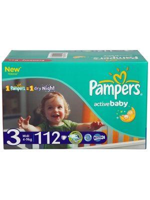 PAMPERS Active Baby Midi 3 (4-9 kg) pieluszki 112szt economy karton  • rozciągliwe boki • swobodne ruchy • anatomiczny kształ wkładu chłonnego • balsam z aloesem łagodzący podrażnienia