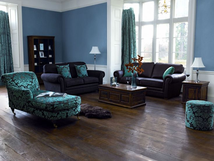 Black Teal Blue Floral Damask Print Lounge Chaise Chair With Round Ottoman  And Cushions No Couch .