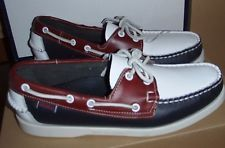 SEBAGO SPINNAKER DOCKSIDES NAVY/WHITE/RED NEW