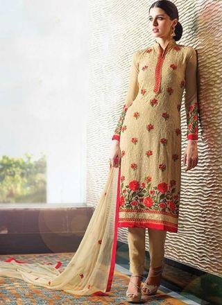 Cream Embroidery Thread Work Georgette Chiffon Designer Pakistani Suit  http://www.angelnx.com/Salwar-Kameez