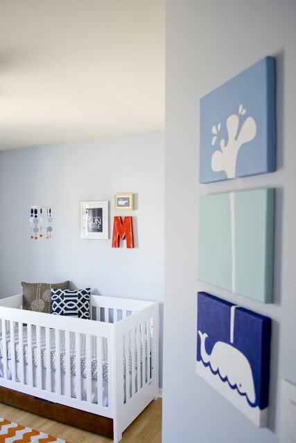 Whale art on wall - instead of painting the wall every time you want to change something