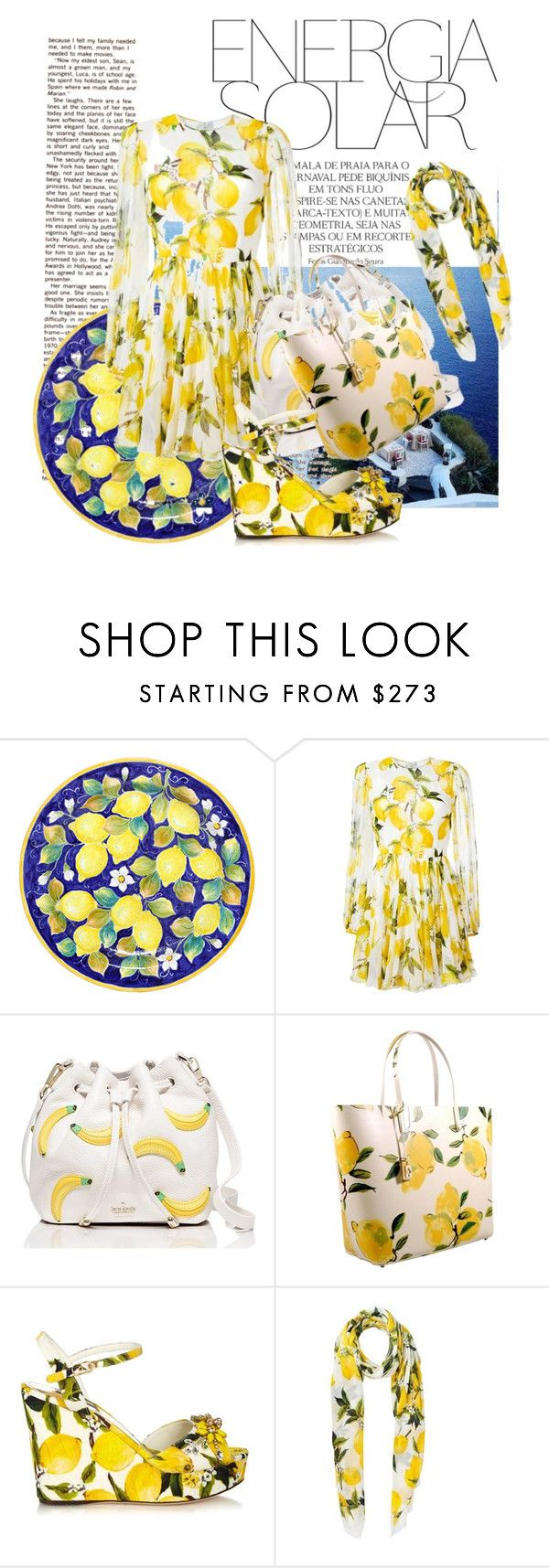 """""""summer lemon"""" by anya2991 on Polyvore featuring Magdalena, Ceramiche Pugi, Dolce&Gabbana and Kate Spade"""