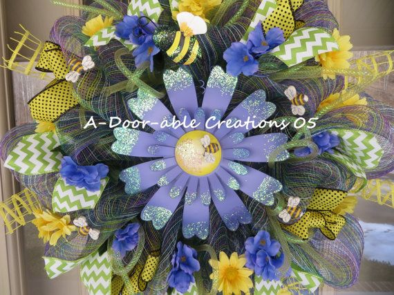 Whimsical Flower Bumble Bee Mesh Wreath By ADoorableCreations05