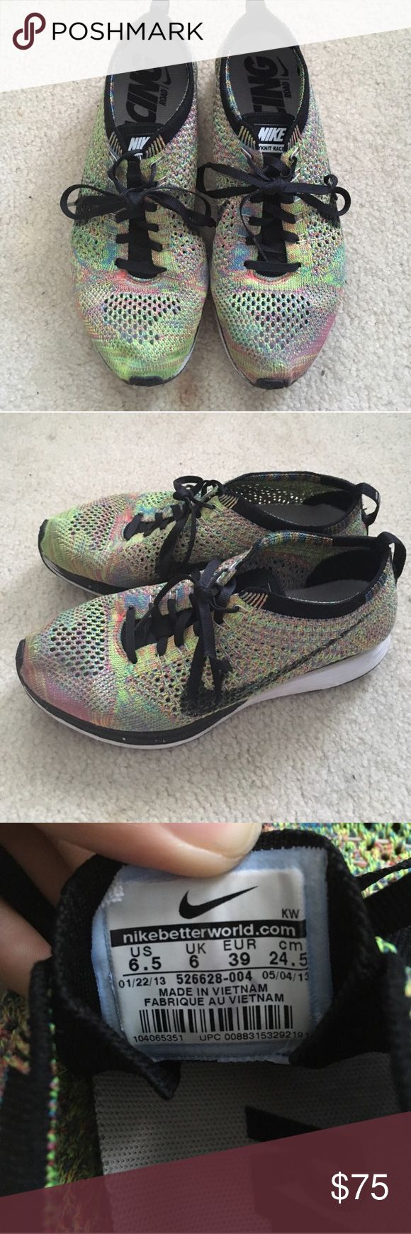 nike flyknit racer multicolor good/ok condition Nike Shoes Athletic Shoes