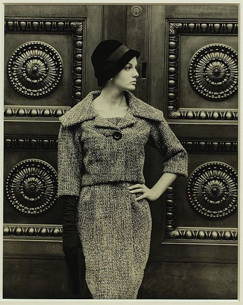 Maggie Tabberer, Model in two piece wool suit, 1960, photo Helmut Newton