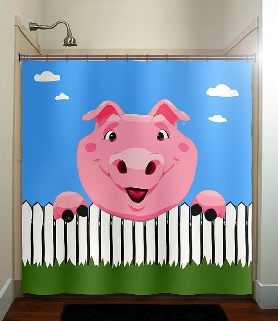 Picket fence pig shower curtain bathroom decor fabric kids for Children s bathroom designs