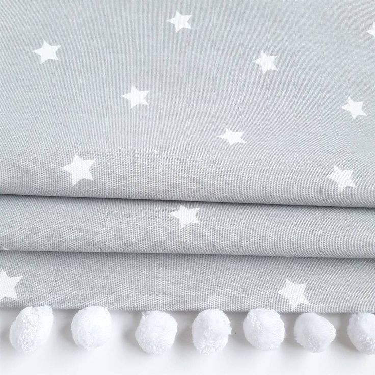 Grey Stars Roman Blind With Pom Pom Trim Roman Blinds