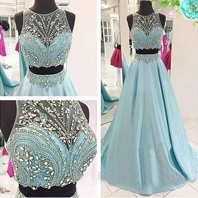 Two pieces Long Prom Dress,Ice Blue Beading Stain