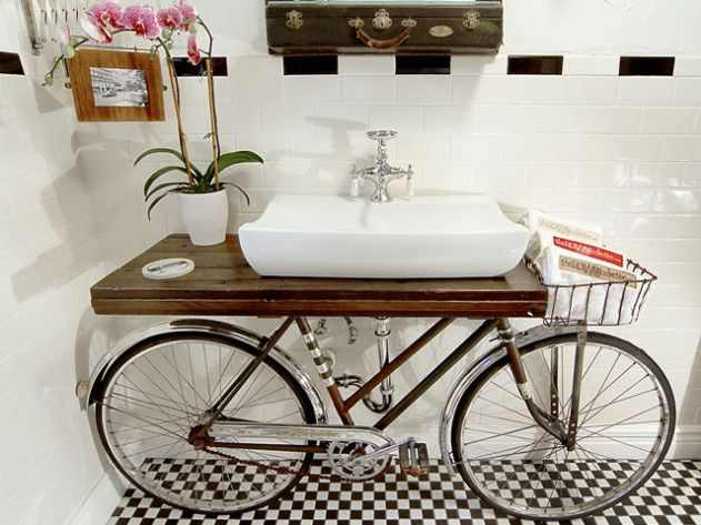 This Upcycled Bicycle Bathroom Vanity Is Featured In