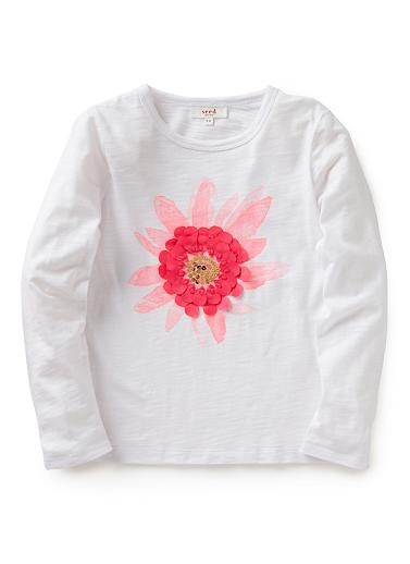 100% Cotton long-sleeve jersey tee. Features flower print with applique and sequin detail. Regular fit, available in White as shown.
