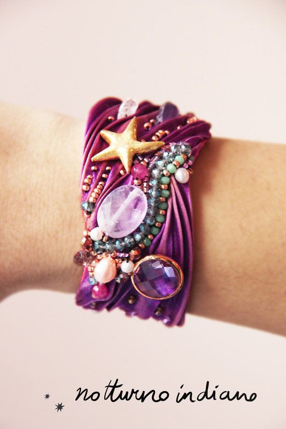 handmade shibori silk and soutache bracelet di notturnoindiano