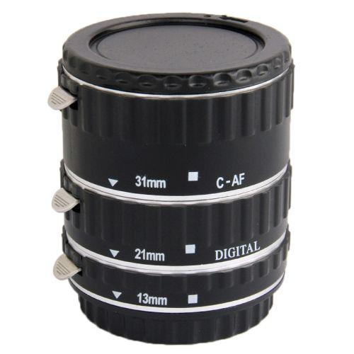 [$14.11] Auto Macro Extension Tube Set for Canon DSLR, Material: ABS + Aluminum Alloy(Black)