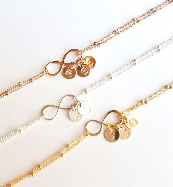 Personalized Infinity Bracelet, 14k Gold filled,Sterling Silver, Rose Gold,Friendship, initial bracelet, Sister, Bridesmaid, Valentine Gifts