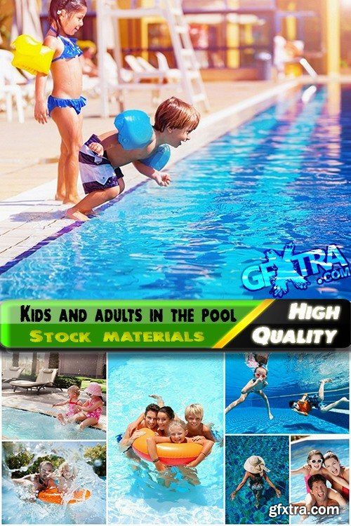 Kids and adults having fun in the pool - 25 HQ Jpg