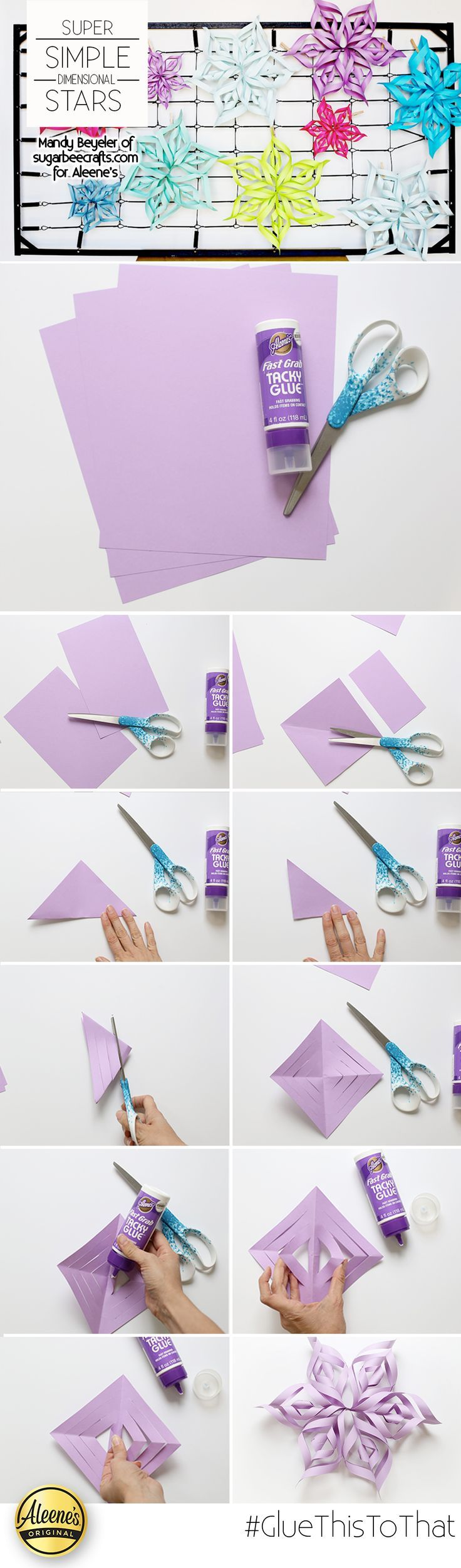 Sugar Bee Crafts shares how to make easy dimensional stars from paper and Aleene's Fast Grab Tacky Glue.