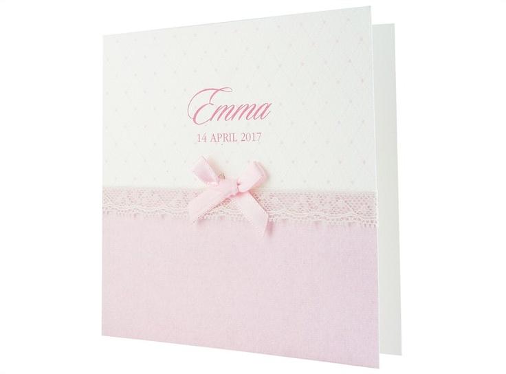 97.564 Roze kaartje, lint, roze strikje, kant - Family Cards - De allerliefste geboortekaartjes