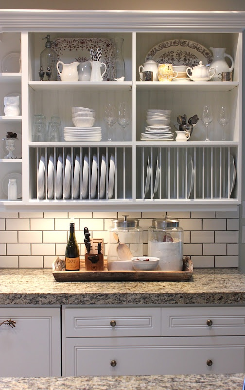 forever*cottage: White cabinets, tan granite, subway tile